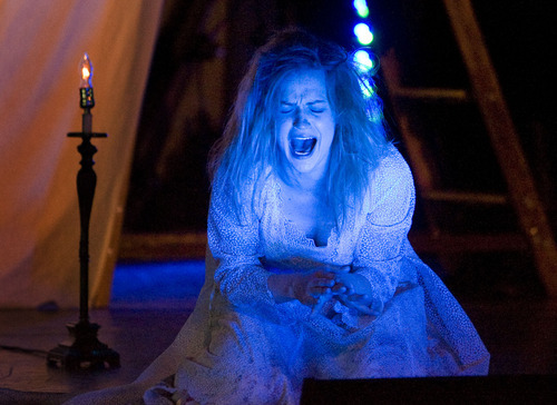 Steve Griffin     The Salt Lake Tribune Lady Macbeth, played by Kelly Marie Hennessey, screams during the Utah Shakespeare Festival's traveling production of