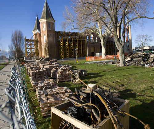 Al Hartmann      The Salt Lake Tribune  A fence blocks the Provo Taberbnacle as stabilization and cleanup work continue on the historic structure on March 31, 2011. A lighting rig and human error are being blamed for the fire that devastated the Tabernacle more than three months ago.