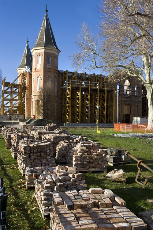 Al Hartmann      The Salt Lake Tribune  Salvaged bricks are stacked on the north side of the Provo Tabernacle as stabilization and cleanup work continue on the historic structure on March 31, 2011. A lighting rig and human error are being blamed for the fire that devastated the Tabernacle more than three months ago.