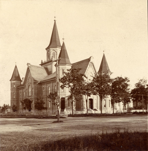 Many residents would like to see the Provo LDS Tabernacle, shown here in a photo from somewhere between 1858 and 1902, rebuilt after a fire gutted the building in 2010. Courtesy LDS Church