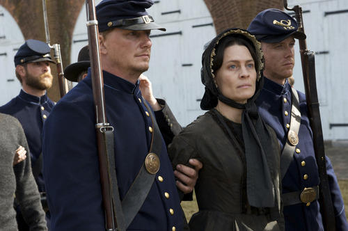 Robin Wright plays Mary Surratt, the boarding-house operator accused of taking part in the plot to kill Abraham Lincoln, in a scene from
