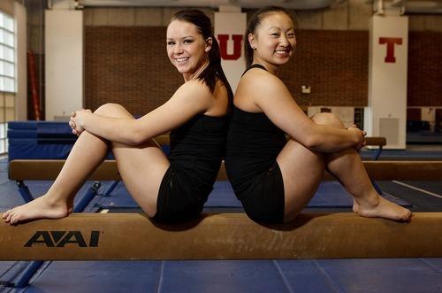 Trent Nelson  |  The Salt Lake Tribune University of Utah gymnasts Stephanie McAllister, left, and Corrie Lothrop, in Salt Lake City, Utah, Thursday, April 7, 2011.
