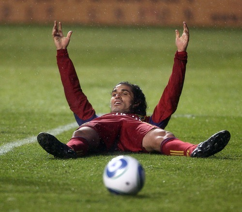 Steve Griffin  |  The Salt Lake Tribune   Real Salt Lake's Fabian Espindola holds his arms in the air in disbelief  after his goal is called back during first half action in the Real Salt Lake versus Colorado Rapids at Rio Tinto Stadium in Sandy, Utah Wednesday, April 13, 2011.