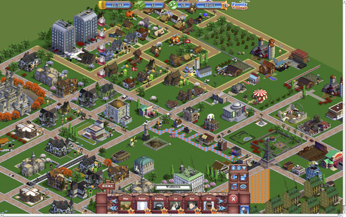 A screenshot from the Facebook game,