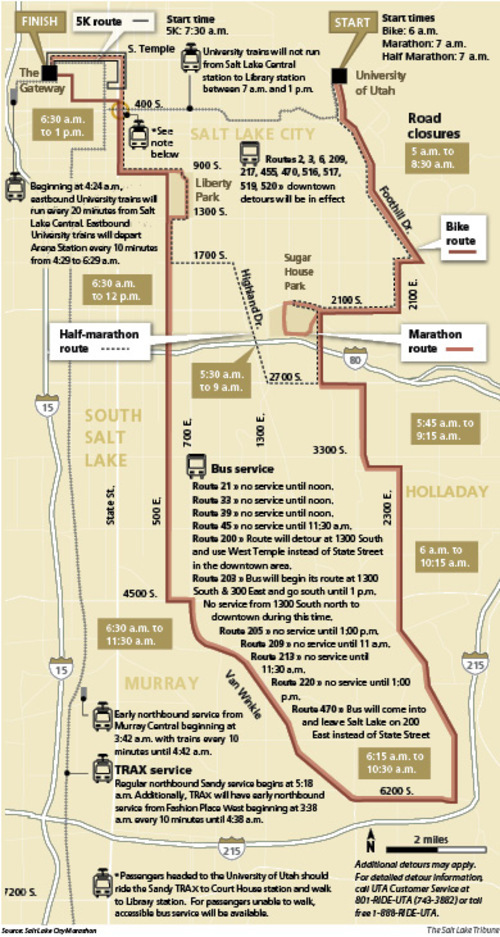 2011 Salt Lake City Marathon route and road closures.