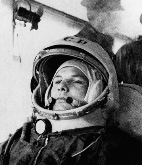 This undated photo shows cosmonaut Maj. Yuri Gagarin in his space suit. It was the Soviet Union's own giant leap for mankind -- one that would spur a humiliated America to race for the moon. It happened on Tuesday, April 12, 1961 when the air force pilot became the first human in space. (AP Photo)