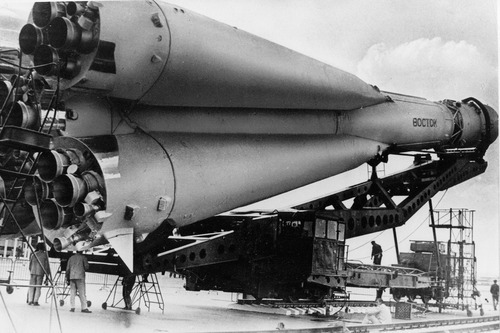 This undated picture shows a Russian Vostok rocket on its launcher. It was the Soviet Union's own giant leap for mankind -- one that would spur a humiliated America to race for the moon. It happened on Tuesday, April 12, 1961 when an air force pilot named Yuri Gagarin, traveling in a Vostok, became the first human in space. (AP Photo/File)