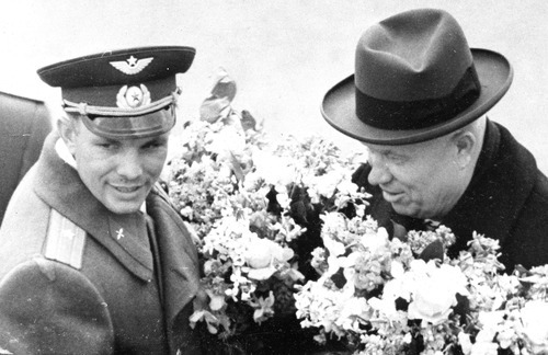 In this April 14, 1961 picture, Soviet leader Nikita Khrushchev greets cosmonaut Maj. Yuri Gagarin at the Vnukovo airport in Moscow. It was the Soviet Union's own giant leap for mankind _ one that would spur a humiliated America to race for the moon. It happened on Tuesday, April 12, 1961 when the air force pilot became the first human in space. (AP Photo/ITAR-TASS)
