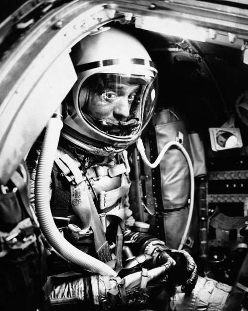 Astronaut Alan Shepard Jr. rests in his capsule awaiting his trip into space from Cape Canaveral, Florida, on May 5, 1961. (AP Photo)