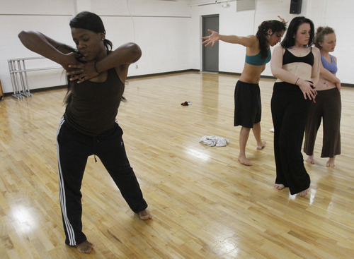 Rick Egan   |  The Salt Lake Tribune  L-R Ursula Perry, Laja Field, Mallory Rosehthal,  Rachael Shaw, and Sofia Gorder, dancers from  inFluxdance practice for  Monday, April 11, 2011. Sofia Gorder and her friend Juan Aldape are putting together a performing arts concert, titled
