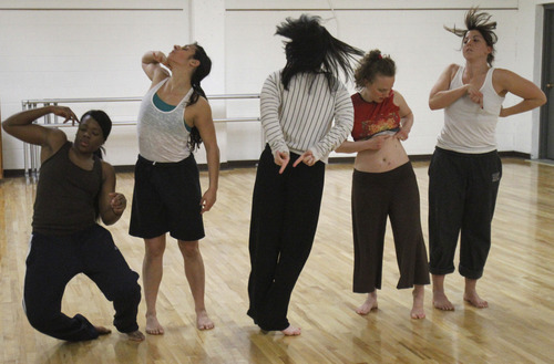 Rick Egan   |  The Salt Lake Tribune  L-R Ursula Perry, Laja Field, Mallory Rosehthal, Rachael Shaw, and Belle Baggs, dancers from  inFluxdance practice for  Monday, April 11, 2011. Sofia Gorder and her friend Juan Aldape are putting together a performing arts concert, titled