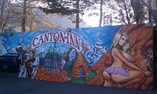 Cimaron Neugebauer | The Salt Lake Tribune This mural at Canyon Inn, 3700 E. Fort Union Blvd., has drawn complaints. But police say there's nothing illegal about it.