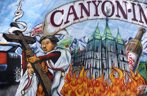 Sarah A. Miller  |  The Salt Lake Tribune  This mural at Canyon Inn in Cottonwood Heights has received a lot of complaints.
