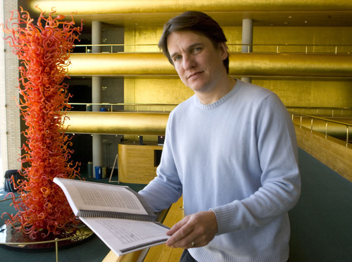 Keith Lockhart, the Utah Symphony music director looks over a musical score at Symphony Hall on February 19th 2008.     This will be his final season with the Utah Symphony.  Al Hartmann/Salt Lake Tribune   2/19/08