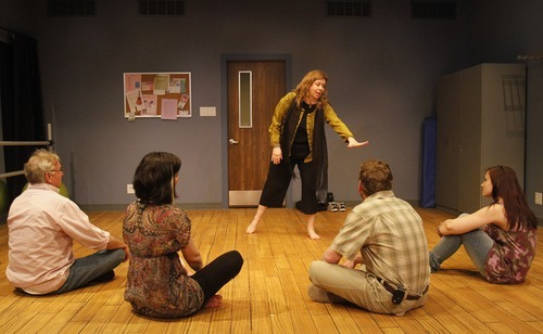 Rick Egan   |  The Salt Lake Tribune  Morgan Lund,  from left, Alexandra Harbold, Colleen Baum (standing), Michael Todd Behrens and Shelby Andersen rehearse in Salt Lake Acting Company's