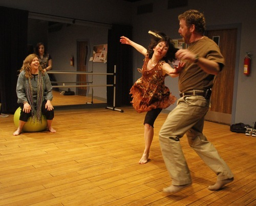 Rick Egan   |  The Salt Lake Tribune  Colleen Baum (on ball), from left, Alexandra Harbold (center) and Michael Todd Behrens rehearse in Salt Lake Acting Company's