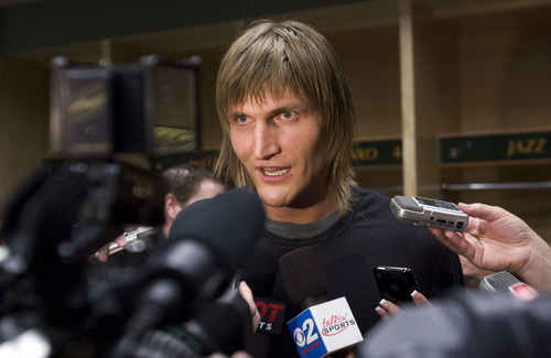 Steve Griffin  |  The Salt Lake Tribune   Utah Jazz forward Andrei Kirilenko talks to the media during locker clean-out day at EnergySolutions Arena in Salt Lake City on Thursday, April 14, 2011. The team finished its season last night and will not be going to the playoffs.