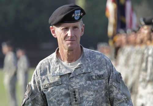 Gen. Stanley McChrystal reviews troops for the last time as he is honored at a retirement ceremony at Fort McNair in Washington, Friday, July 23, 2010. McChrystal's illustrious career came to an abrupt end when he resigned as the top U.S. commander in Afghanistan after he and his staff were quoted in a Rolling Stone magazine article criticizing and mocking key Obama Administration officials.  (AP Photo/J. Scott Applewhite)
