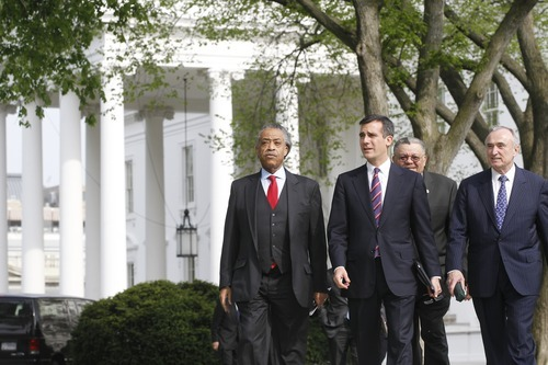 Rev. Al Sharpton, president of the National Action Network, left, Eric Garcetti, Los Angeles city council member, second left, Philadelphia Police Chief Charles Ramsey, second right, and Bill Bratton, former Los Angeles and New York City police chief, emerge after meeting with President Obama about immigration reform at the White House in Washington, Tuesday, April 19, 2011. (AP Photo/Charles Dharapak)