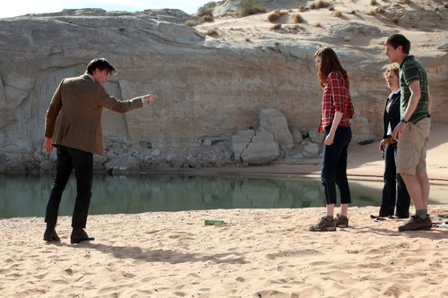 The Doctor (Matt Smith), Amy Pond (Karen Gillan), River Song (Alex Kingston) and Rory (Arthur Darvill) in a scene from