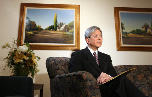 Leah Hogsten | The Salt Lake Tribune Elder Gerrit W. Gong discusses Thursday, April 14, 2011, the LDS Church's decision to do away with congregations exclusively for students and replacing them with