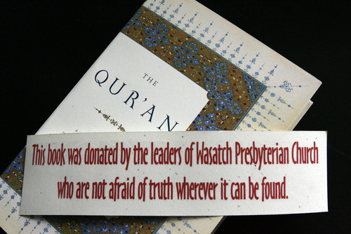 Francisco Kjolseth  |  The Salt Lake Tribune Wasatch Presbyterian Church pastor Scott Delgarno and the board are buying dozens of copies of the Qur'an and having them placed at the King's English Bookstore to give away for free. This is to counter the message of Florida pastor Terry Jones, who burned the Qur'an. In each, they're putting a book mark that says