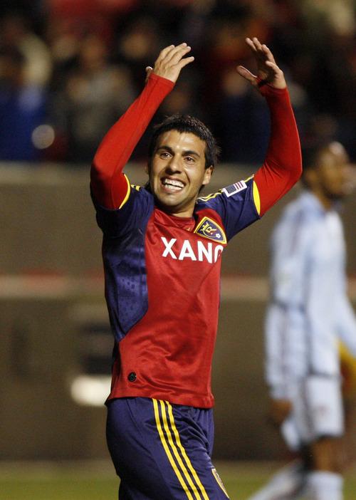 Rick Egan   |  The Salt Lake Tribune  Javier Morales celebrates as the Real score the first goal of the night, in MLS soccer action, Salt Lake Real vs. The Colorado Rapids, in Sandy, Utah, Saturday, October 24,  2009
