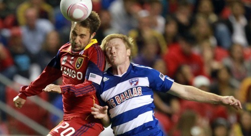 Rick Egan   |  The Salt Lake Tribune  Ned Grabavoy (20) collides with Dax McCarty, as they go for the ball, MLS soccer action, Real Salt Lake vs FC Dallas, at Rio TInto Stadium,  Saturday, October 16, 2010.