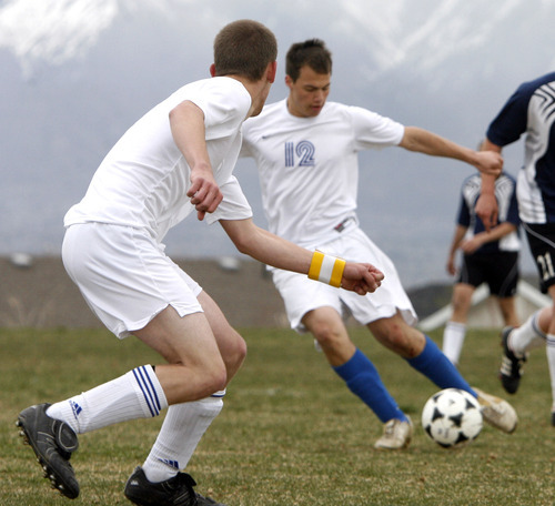 Rick Egan   |  The Salt Lake Tribune  Brandon Beekhuizen (12) kicks the ball for Salt Lake Lutheran, in the final game of the season, Wednesday, April 20, 2011. Salt Lake Lutheran soccer has only 10 players on their roster and did not won a game this season.