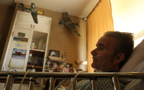 Leah Hogsten  |  The Salt Lake Tribune The model airplanes assembled and painted by Mark Hepper, 51, adorn his room at Heritage Park Nursing Home. Hepper suffers from a congenital brain defect, but doctors can't explain why surgical interventions are failing.
