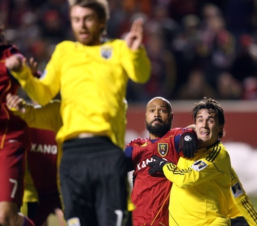 Steve Griffin  |  The Salt Lake Tribune   Real Salt Lake's Robbie Russell and Columbus Crew midfielder Cole Grossman battle for position on a corner kick during first-half action in the CONCACAF Champions League quarterfinal game at Rio Tinto Stadium in Sandy on Tuesday, March 1, 2011.