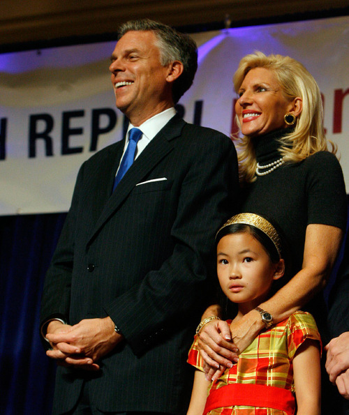 FILE PHOTO |  The Salt Lake Tribune Then-Gov. Jon Huntsman Jr., Mary Kaye Huntsman and daughter Gracie Mei.