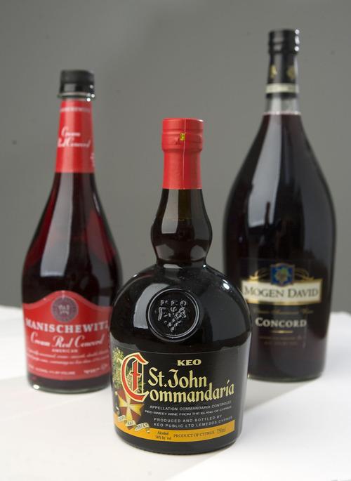Al Hartmann   |  The Salt Lake Tribune  Manischewitz Cream Red Concord Wine, left, St. John Commandaria and Mogan David Concord Wine are types of wine used in religious services.