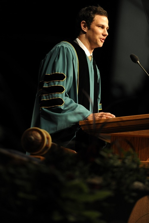 Sarah A. Miller  |  The Salt Lake Tribune  Student body president Richard Portwood of Park City addresses his classmates at the Utah Valley University commencement ceremony Friday, April 29, 2011.