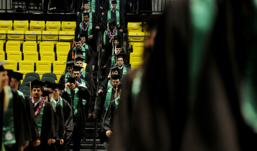 Sarah A. Miller  |  The Salt Lake Tribune UVU awarded a record number of degrees during campus ceremonies Friday where Robert C. Gay, co-founder and CEO of Huntsman Gay Global Capital and a microfinance philanthropist, was the keynote speaker.