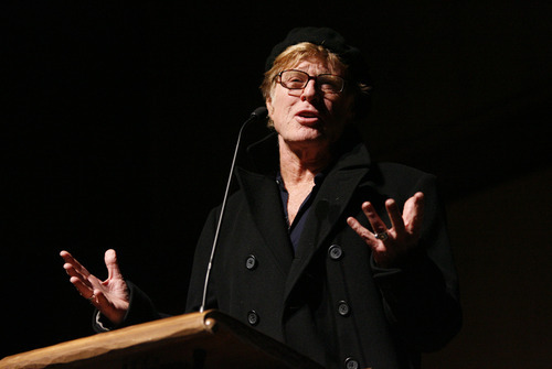 Robert Redford talks to the audience before the screening of the of the film