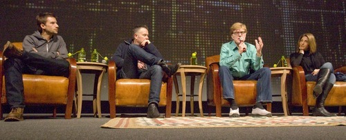 Filmmakers Mat Whitecross and Michael Winterbottom, Robert Redford and film  writer Naomi Klein participate in a question-and-answer session after the screening of the film. at the 2010 Sundance Film Festival. Tribune file photo