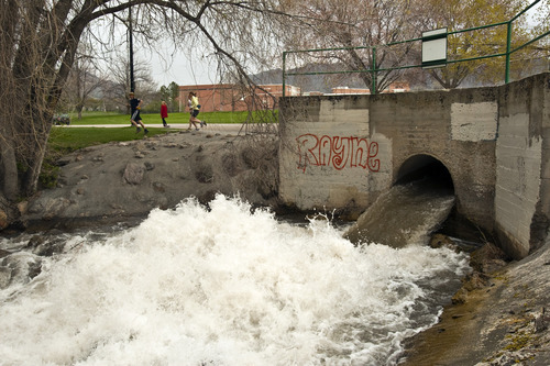 Chris Detrick | The Salt Lake Tribune  High water flows at Sugar House Park on Tuesday, May 3, 2011.
