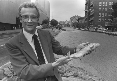 Al Hartmann  |  The Salt Lake Tribune Alma Allred was standing on State Street when someone handed him this Rainbow Trout caught by hand in the temporary