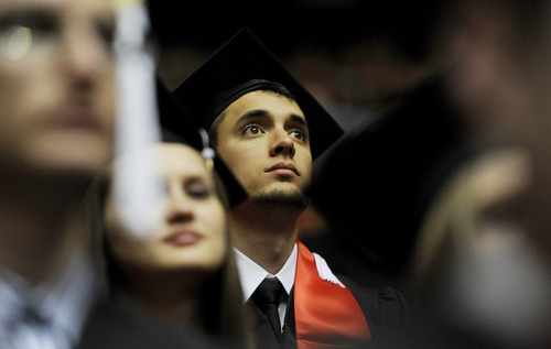 Sarah A. Miller  |  The Salt Lake Tribune  Middle Eastern Studies and Arabic student Marco Moreno of Mesa, Ariz., watches the University of Utah commencement at the Huntsman Center on Friday, May 6, 2011, in Salt Lake City. Over 7,000 students received their degrees.