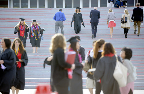 Sarah A. Miller  |  The Salt Lake Tribune  Graduates and families arrive for the University of Utah commencement at the Huntsman Center on Friday, May 6, 2011 in Salt Lake City. Over 7,000 students received their degrees.