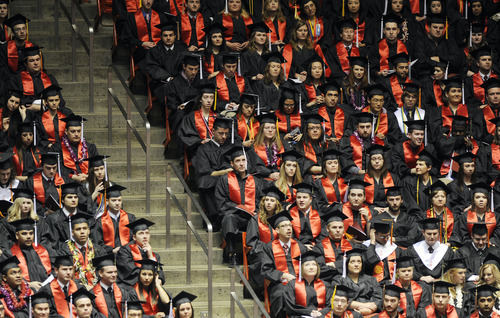 Sarah A. Miller  |  The Salt Lake Tribune  University of Utah students wait for the commencement ceremony to begin at the Huntsman Center on Friday, May 6, 2011 in Salt Lake City. Over 7,000 students received their degrees.