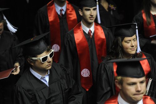 Sarah A. Miller  |  The Salt Lake Tribune  University of Utah graduates enter the Huntsman Center for their commencement ceremony Friday, May 6, 2011, in Salt Lake City. Over 7,000 students received their degrees.