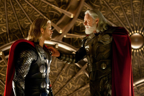 In this film publicity image released by Paramount Pictures, Chris Hemsworth, left, and Anthony Hopkins are shown in a scene from the film,