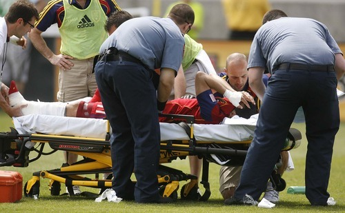 Trent Nelson     The Salt Lake Tribune Real Salt Lake's Javier Morales is taken from the field after a horrific injury during a match against Chivas USA at Rio Tinto Stadium in Sandy on May 7.