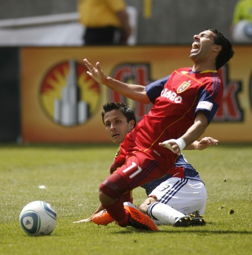 Trent Nelson     The Salt Lake Tribune Real Salt Lake's Javier Morales falls with a horrific injury on last Saturday during a match against Chivas USA at Rio Tinto Stadium in Sandy.