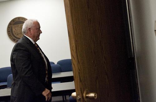 Djamila Grossman  |  The Salt Lake Tribune  Arizona Senator Russell Pearce, R-Mesa, leaves a room in the Capitol Building in Phoenix, Arizona, on Tuesday, April 19, 2011.