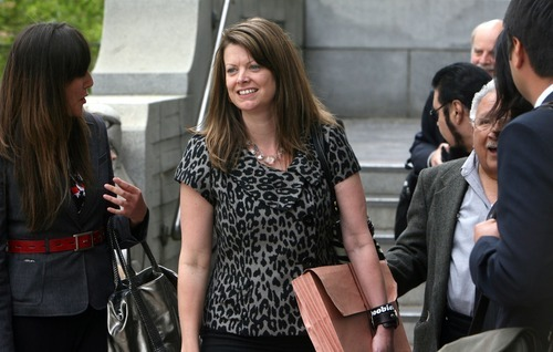 STEVE GRIFFIN  |  Tribune file photo ACLU legal director Darcy Goddard leaves the Frank Moss Federal Courthouse in Salt Lake City in May. Goddard pushed forward with several lawsuits on behalf of the ACLU during her tenure as legal director, which started in January 2010.