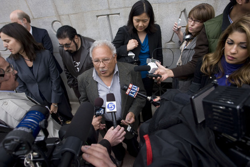 STEVE GRIFFIN  |  The Salt Lake Tribune Archie Archuleta, a plaintiff in a suit against Utah's new immigration enforcement law, talks with reporters outside the Frank Moss Federal Courthouse in Salt Lake City on Tuesday. Judge Clark Waddoups issued a temporary restraining order against the law.