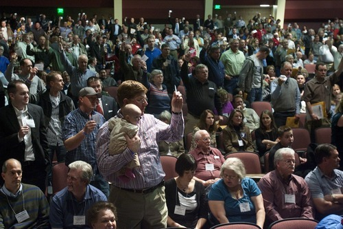 CHRIS DETRICK   The Salt Lake Tribune  Utah County Republican delegates vote on a resolution seeking to repeal a guest worker immigration law in a slap at the governor and most GOP lawmakers. The Utah County and Salt Lake County GOP approved a resolution calling for repeal of HB116.